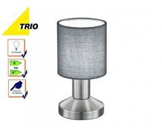 Trio Leuchten Tischleuchte Garda, 595400111, Nickel matt, E14, Stoffschirm Grau, 9.5 x 9.5 x 18cm, On/Off Touch