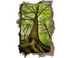 Pixxprint 3D_WD_S2434_92x62 gigantischer Baum im Wald Wanddurchbruch 3D Wandtattoo, Vinyl, bunt, 92 x 62 x 0,02 cm