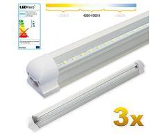 LEDVero 3x SMD LED Röhre 60 cm inklusive Fassung in neutralweiss- Leuchtstoffröhre T8 G13 Tube transparente Abdeckung - Lichtleiste mit 8 W, 800lm- montagefertig