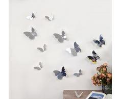 Walplus WS1013 3D Spiegel Schmetterling Wand Sticker, Mehrfarbig
