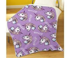 Emoji-Einhorn Fleece Decke, lila