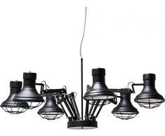 Kare Design Hängeleuchte Spider Multi 6er, grosse, verstellbare Pendelleuchte, rustikale Esszimmerlampen, Hängelampen, Schwarz (H/B/T) 60x110x110cm