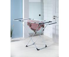 axentia Teleskopwäscheständer mit einer Trockenlänge von ca. 20m, Wäscheständer ausziehbar, Wäschehalter aus Stahl mit Aluminiumleinen, Trockenständer für jegliche Art von Textilien - Standtrockner für Kleidung und Handtücher