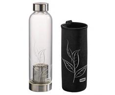 Xavax Teeflasche mit Sieb (Glasflasche mit Neopren-Hülle, 500ml Tee Flasche to go, Trinkflasche für Kalt- und Heißgetränke, Wasserflasche für Infused Water mit Schraubverschluss aus Edelstahl) glas