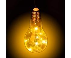 Relaxdays Deko Glühbirne LED zum Hängen, batteriebetriebene LED-Deko, kabellose Glühlampe mit Lichterkette, transparent