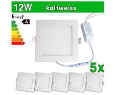 LEDVero 5x Ultraslim LED Panel SMD 2835, 12 W, eckig Deckenleuchte Lampe Einbau Leuchte Licht Strahler, kaltweiß SP184