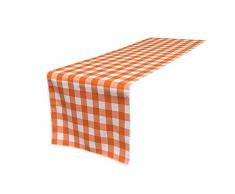 La-Bettwäsche mit kariert Tischläufer, Polyester, weiß/orange, 35.56 x 274.32 x 0.04 cm