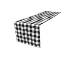 LA Tischläufer, kariert, Leinen, Polyester, schwarz/weiß, 35.56 x 274.32 x 0.04 cm