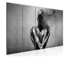 Bilder Abstrakt Mensch Wandbild 200 x 80 cm Vlies - Leinwand Bild XXL Format Wandbilder Wohnzimmer Wohnung Deko Kunstdrucke Grau 5 Teilig - MADE IN GERMANY - Fertig zum Aufhängen 612355c
