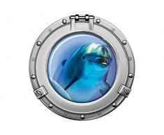 Graz Design 651031_57 Wandsticker Wandtattoo Wandaufkleber Badezimmer Bullauge Delfin Unterwasser (Größe=57x57cm)