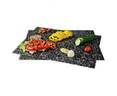 Xavax Herdabdeckplatte / Schneidebrett Glas, 2er-Pack, gehärtetes Sicherheitsglas, spülmaschinengeeignet, Granit Design, 52 x 38,5 cm