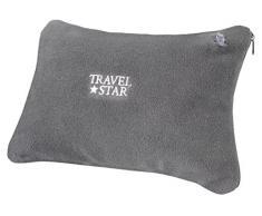 travelstar: aufblasbares Kissen mit Fleece-Bezug, grau (TS-N-5002)