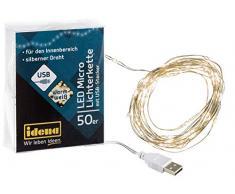 Idena 30184 LED Micro Lichterkette mit 50 LED in warm weiß am Silberdraht, USB betrieben, für Partys, Weihnachten, Deko, Hochzeit, als Stimmungslicht, ca. 2,75 m