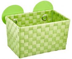 WENKO 20381100 Static-Loc Aufbewahrungskorb Fermo Green - Badkorb, Befestigen ohne bohren, Kunststoff - Polypropylen, 20.5 x 14.5 x 14 cm, Grün