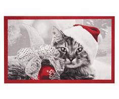 Hanse Home Fußmatte Schmutzfangmatte Weihnachtskatze Rot Grau, 45x75 cm