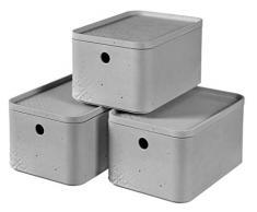 CURVER Beton Aufbewahrungsbox S mit Deckel (4 L), 3er Set, Kunststoff, Hellgrau, Small