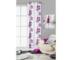 Eurofirany ZAS/GLORY/B+FIOL Vorhang Glory mit Blumenmotiv, 140 x 250 cm, violett