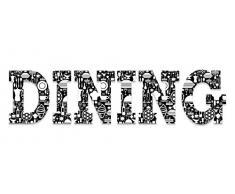 Eurographics Art Words AW-DF2429 , 3D Buchstaben DINING, Wandtattoo, schwarz-weiß, 60 x 25 x 1,4 cm