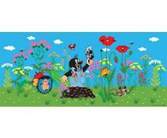 AG Design FTG 0933 Kleine Maulwuf Freunde, Papier Fototapete Kinderzimmer - 202x90 cm - 1 Teil, Papier, multicolor, 0,1 x 202 x 90 cm