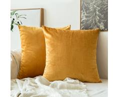 MIULEE 2 Stück, SAMT Weiches Solide Dekorativen Überwurf Kissenbezüge Set, quadratisch Kissen für Sofa Schlafzimmer Auto 18x18,Set of 2 Velvet Gold