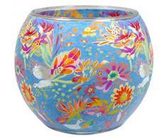 Himmlische Düfte Geschenkartikel CC231 Tischdekoration, Dream of Blossom Windlicht Glas 11 x 11 x 9 cm, bunt