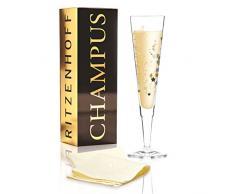 RITZENHOFF Champus Champagnerglas von Concetta Lorenzo, aus Kristallglas, 200 ml, mit edlen Gold- und Platinanteilen, inkl. Stoffserviette