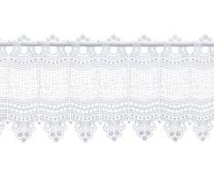 Plauener Spitze by Modespitze, Store Bistro Gardine Scheibengardine mit Stangendurchzug, hochwertige Stickerei, Höhe 28 cm, Breite 112 cm, Weiß