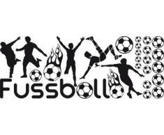 Graz Design 770103_57_070 Wandtattoo Aufkleber Tattoo Set für Kinderzimmer Fußball Bälle Sport Jungs (Größe=150x57cm//Farbe=070 schwarz)