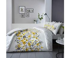 """DnD Wendbare Tagesdecke """"Gabriella"""" mit prächtigem Blumenmusterband vorne und Blättern auf der Rückseite, 229 x 195 cm, Ocker, Doppelbett"""