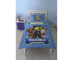 Paw Patrol Mission pawsible Skye/Marshall/Schutt und Wende Everest beidseitigen Design Bettdecke Set mit passendem Kissen Fall, Polyester-, blau, Single