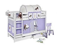 Lilokids Etagenbett Jelle TÜV und GS geprüft Pferde, Hochbett mit Vorhang und Lattenroste Kinderbett, Holz, lila / beige, 208 x 98 x 150 cm