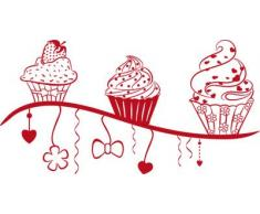 Graz Design 620371_40_031 Wandtattoo Wanddeko Deko für Küche Cupcake Muffin Kuchen Gebäck Erdbeer Herzen Süßigkeiten (Größe=77x40cm//Farbe=Rot)