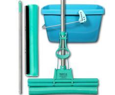 ABACUS GREEN MOP Set 40-02 Mopp 40 cm + Stiel + 40cm Ersatzschwammm + 20 Liter Eimer Leifheit 52013 - Doppelwringer Wischmop PVA Bodenwischer Wringmop Mopp GreenMopp 4-Rollen Doppelwringsystem