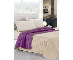 Elegant Italian Bed Linen Tagesdecke Sommer 170 x 270 cm Viola/Panna