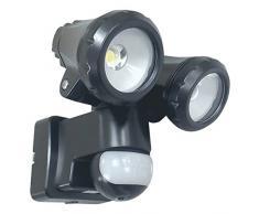 ELRO LT3510P Außenleuchte mit 2 LED-Schwenkköpfen-mit Bewegungsmelder-Reichweite bis zu 12 m und 180° Erfassungswinkel-2 x 10W-1550LM-Schwarz-15 x 19 x 19 cm, Plastik, 20 W, Schwarz, 2x 10W