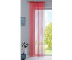 Fadengardine, HxB 250x140 cm, Rot mit Tunneldurchzug und eingenähtem Kräuselband, geeignet für Gardinenstangen und Gardinenschienen Fadenvorhang Fadenstore Raumteiler, 20303CN