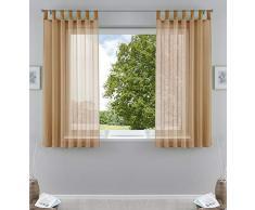 2er-Pack Gardinen Transparent Vorhang Set Wohnzimmer Voile Schlaufenschal mit Bleibandabschluß HxB 175x140 cm Sand, 61000CN