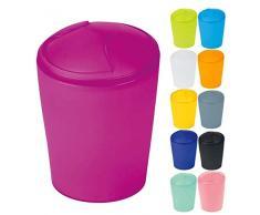 Spirella Kosmetikeimer Move Abfalleimer Schwingdeckeleimer | Kunststoff | 2 Liter |Pink