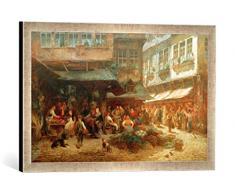 Gerahmtes Bild von Anton Burger Die Schirn in Frankfurt, Kunstdruck im hochwertigen handgefertigten Bilder-Rahmen, 60x40 cm, Silber Raya