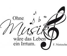 Graz Design 600078_57_070 Wandtattoo Wandaufkleber Musik Noten Zitat Ohne Musik wäre das Leben ein Irrtum
