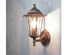 Nostalgische Wand Aussenleuchte PARIS stehend Kupfer Antik IP44 E27 Rustikal Wandlampe Haus Outdoor Garten
