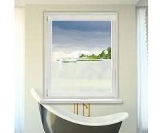 Graz Design 980085_90x57 Fensterdekor Milchglasfolie Sichtschutz Folie Badezimmer Oase Bad (Größe=90x57cm)