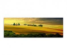 Panoramabild auf Leinwand und Keilrahmen 150x50cm Toskana Landschaft Sonnenuntergang Sommer