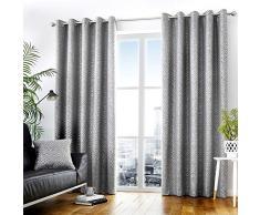 Curtina Vorhang mit Ösen, gefüttert, 100% Polyester, 168 x 137 cm, Graphit