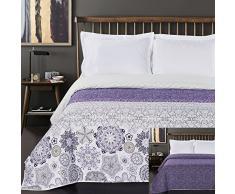 DecoKing Tagesdecke 220 x 240 cm violett weiß Bettüberwurf mit abstraktem Muster zweiseitig pflegeleicht Alhambra lila Purple White Lilac