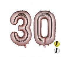 Relaxdays Folienballon Zahl 30, Party Dekoration für 30. Geburtstag, Jubiläum, 85-100 cm, XXL Riesenluftballon, roségold