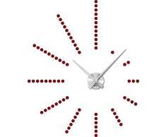 Graz Design 800048_AL_030 Wandtattoo Uhr stylische Dots fr Wohnzimmer (Uhr Silber gebrstet /Aufkleber Dunkelrot)