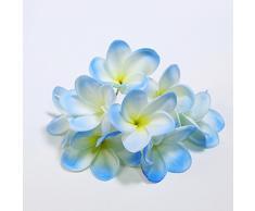 Künstliche Frangipani-Blumensträuße aus Polyurethan, fühlt sich echt an und fühlt sich echt an, als Dekoration für Hochzeit, Zuhause, Party, 10 Stück hellblau
