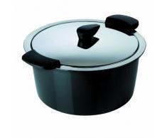 KUHN RIKON 30722 Thermokochgeschirr HOTPAN Kochtopf mit Deckel, schwarz, 3 Liter, 22 cm, dampfgaren, warmhalten, induktionsgeeignet, spülmaschinengeeignet, Edelstahl