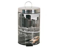 MSV Kosmetikeimer New York Mülleimer Treteimer Abfalleimer - 3 Liter – mit Herausnehmbaren Inneneimer Grau